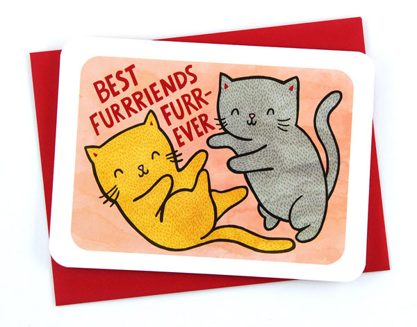 best friends kawaii cats card