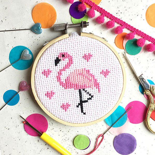 flamingo mini cross stitch kit