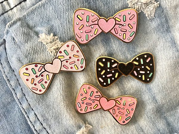 Bow Sprinkles Kawaii Glitter Enamel Pin