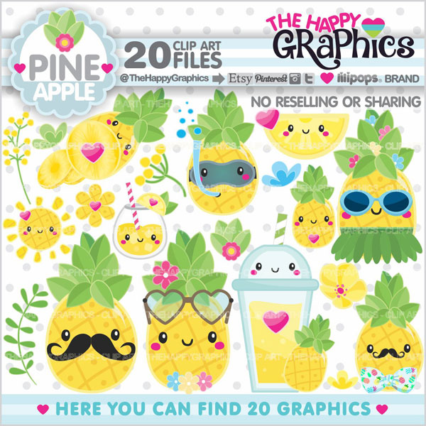kawaii pineapple printable planner stickers