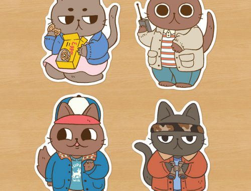 Stranger Things cats stickers