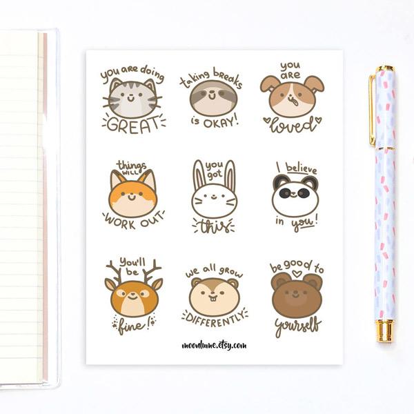 kawaii motivation - animal planner stickers