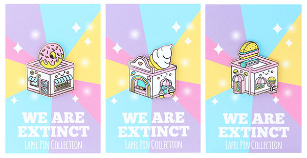 kawaii cafe enamel pins