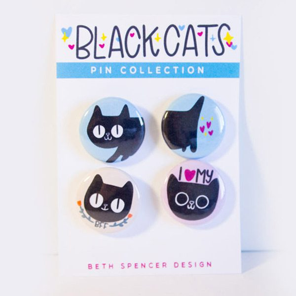kawaii kitten black cat button badges