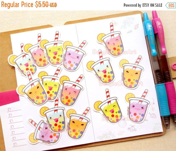 kawaii bubble tea planner stickers