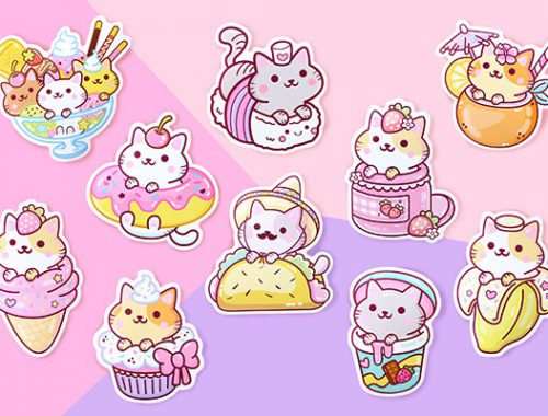 we are extinct kawaii cat stickers