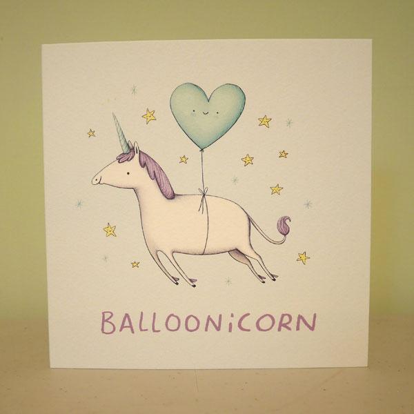 balloonicorn unicorn pun card