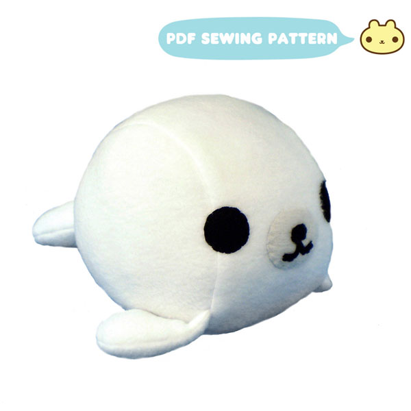 kawaii seal plush toy sewing pattern