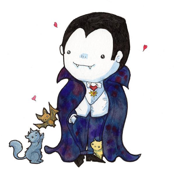 Dracula Loves Kittens Watercolor Print