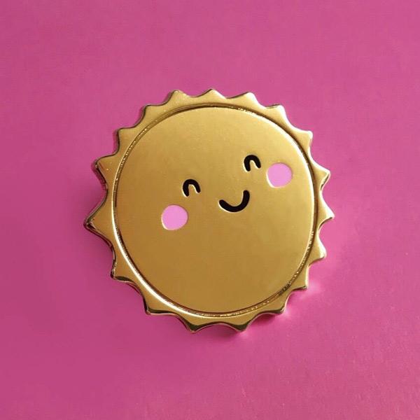 kawaii summer sun enamel pin