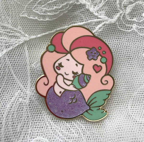 kawaii mermaid enamel pin