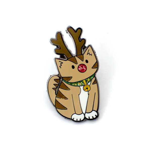 Christmas Enamel Pins rudolph cat