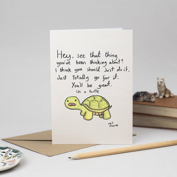 kawaii motivation - turtle card