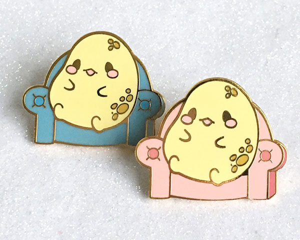 best friends kawaii couch potato enamel pins