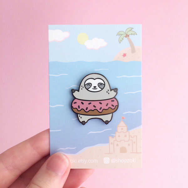 kawaii shops sloth enamel pin