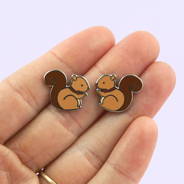 kawaii squirrels enamel pins