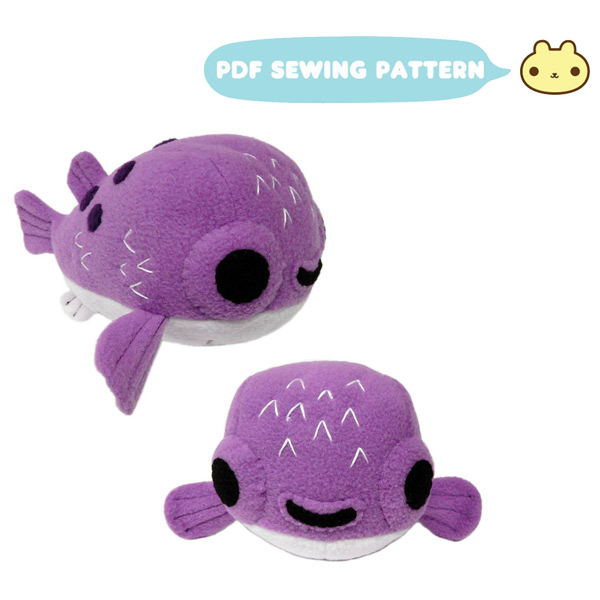 kawaii pufferfish sewing pattern