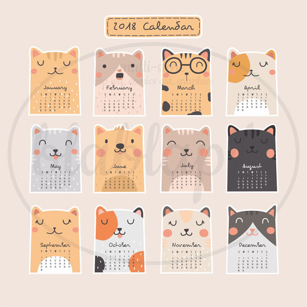 2018 Printable Calendar kawaii cats