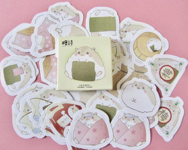 kawaii sushi hamster onigiri stickers