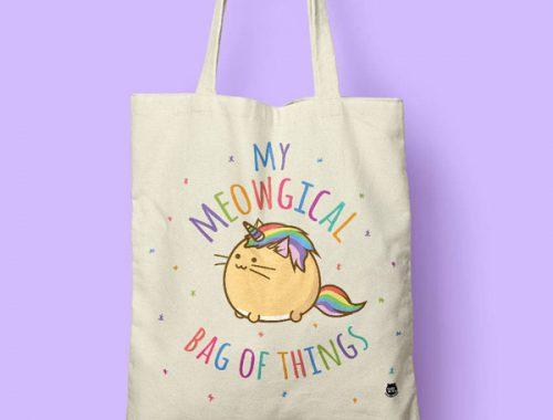 kawaii kitten meowgical unicorn cat tote bag