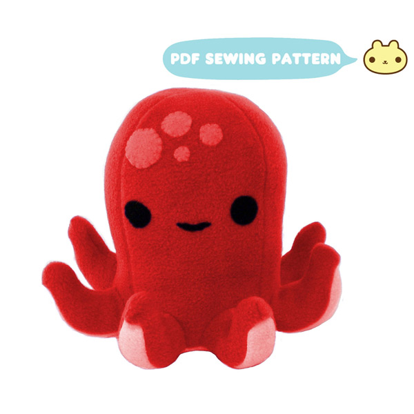 kawaii octopus plush sewing pattern