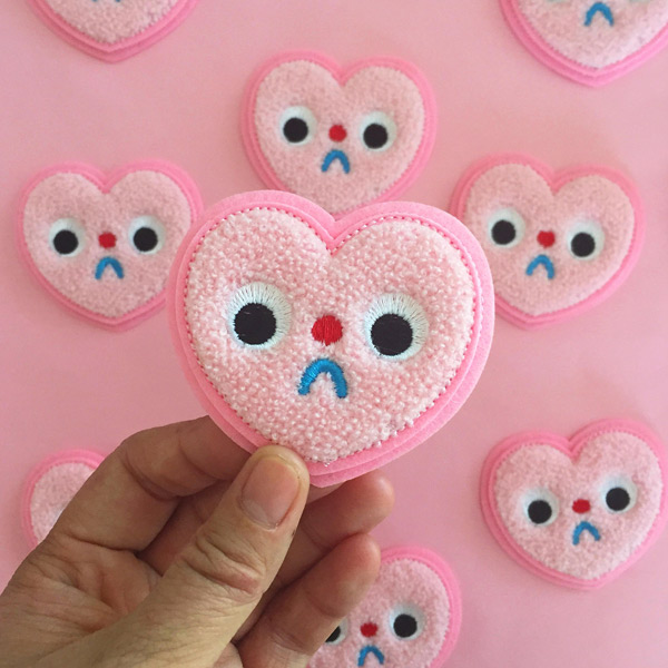 kawaii hearts sad embroidered patch