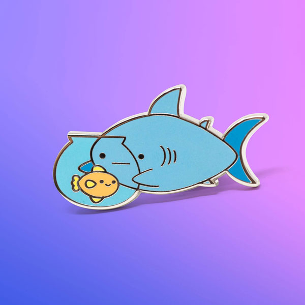 kawaii sharks enamel pin