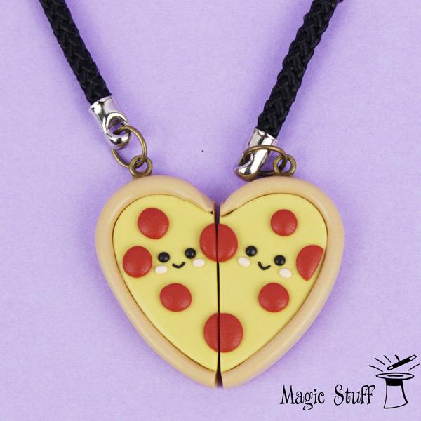 kawaii hearts pizza best friends necklace