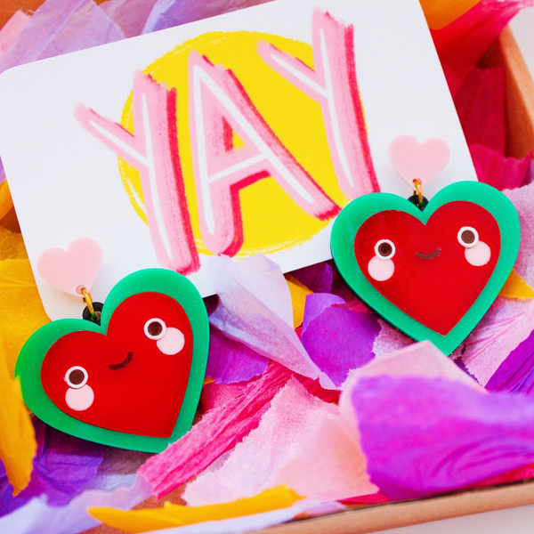 kawaii hearts acrylic earrings
