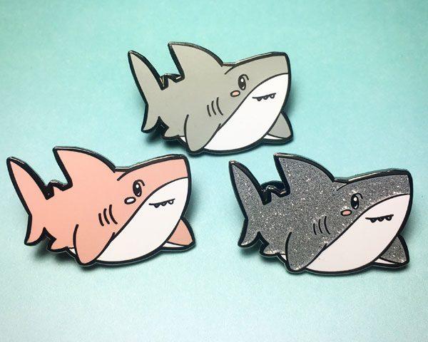 kawaii sharks enamel pin glitter
