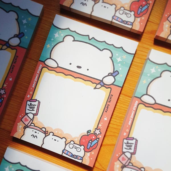 Kawaii stationery bears notepad