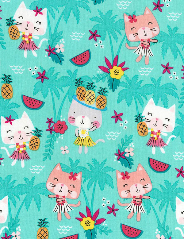 kawaii pineapple cats fabric