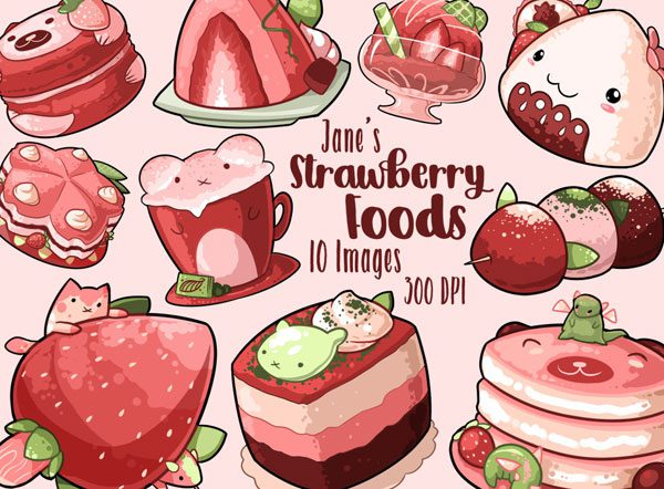 kawaii strawberry clip art planner stickers
