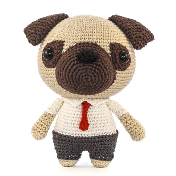 kawaii pug dog amigurumi crochet pattern