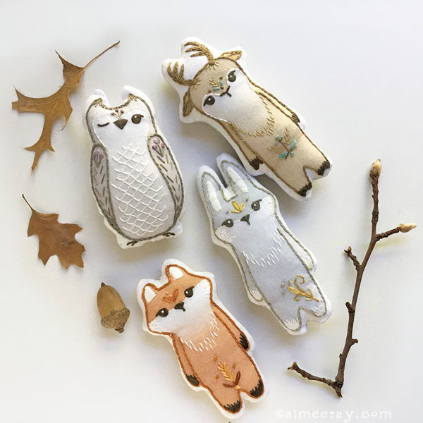 Kawaii Fall Crafts - woodland animal sewing patterns
