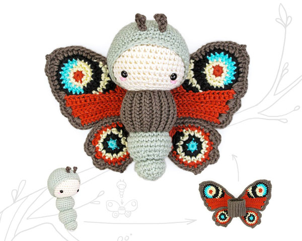peacock butterfly kawaii amigurumi crochet pattern