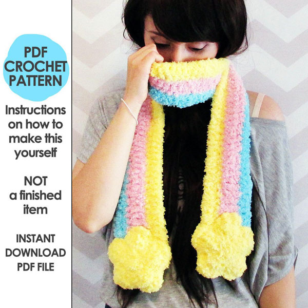 cute cosy pastel rainbow scarf crochet pattern
