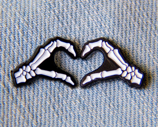 skeleton hands heart enamel pin