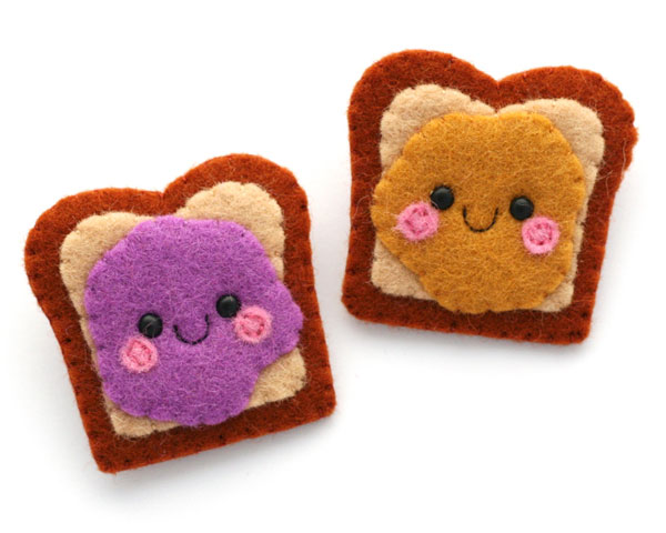 best friends kawaii PB&J pins