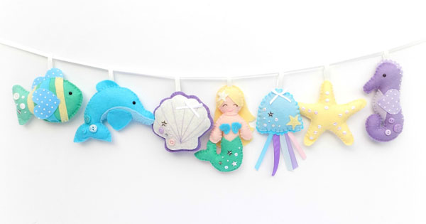 kawaii mermaid garland sewing pattern