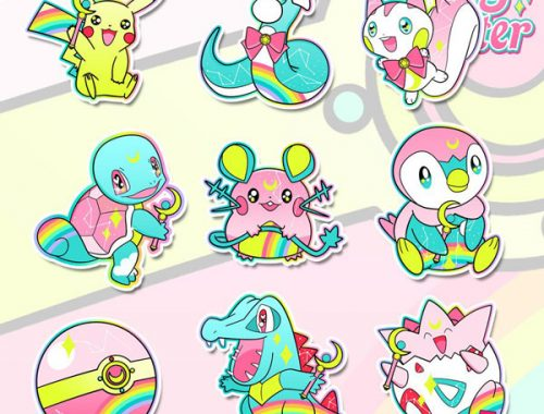 Etsy kawaii - Pokemon x Sailor Moon stickers