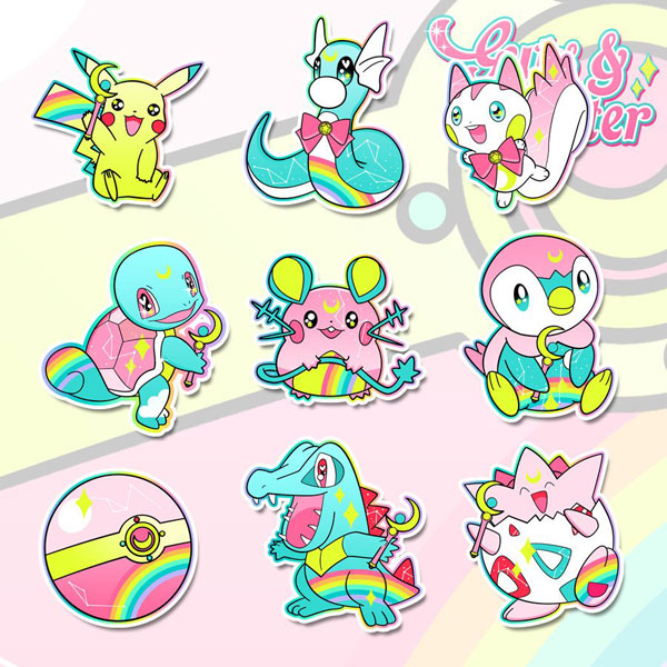 Etsy kawaii - Pokemon x Sailor Moon stickers