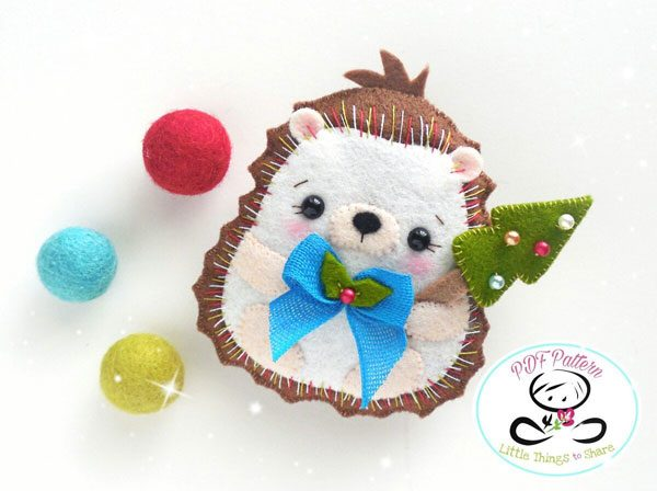 DIY Felt Ornaments - Hedgehog