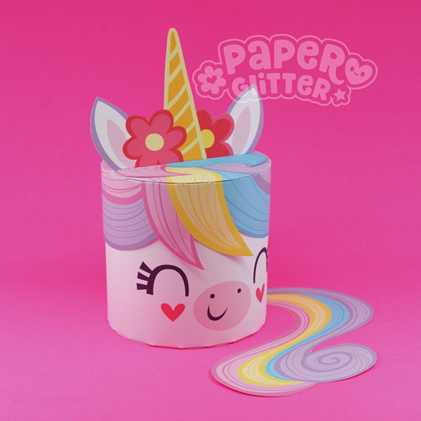 printable rainbow unicorn box