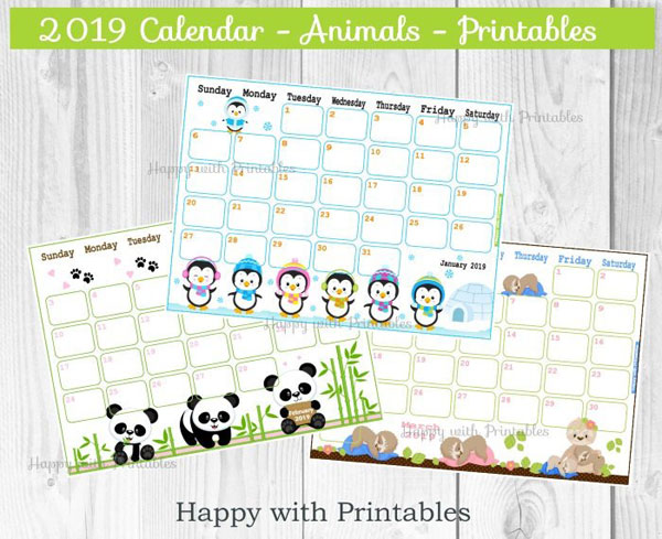 2019 Printable Calendars - animals