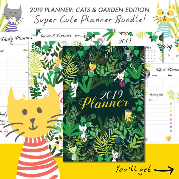 2019 Printable planner bundle - cats