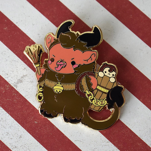 kawaii krampus enamel pin