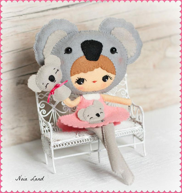 kawaii koala crafts - doll sewing pattern