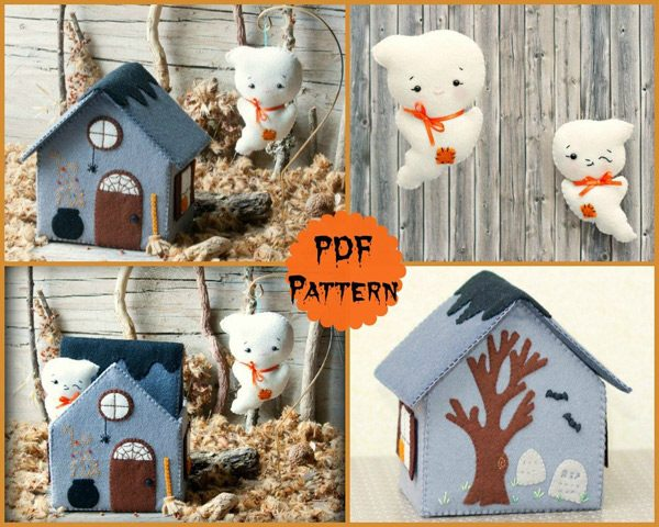 Kawaii Ghost Haunted House Halloween Sewing Patterns