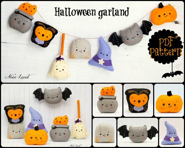 Kawaii Halloween Garland Sewing Patterns